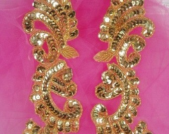 0422  Gold Mirror Pair Sequin Beaded Appliques  0422-gl