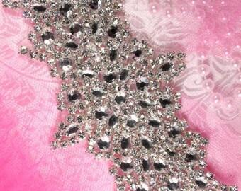 """XR114 Vanessa Bridal Motif Silver Crystal Clear Rhinestone Applique 7""""  XR114-slcr"""