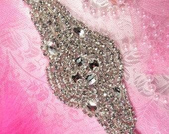 """XR113 Nola Bridal Motif Silver Crystal Clear Rhinestone Applique 7.5""""  XR113-slcr"""
