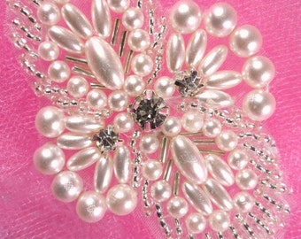 """JB52 Hot Fix Silver Pearl Beaded Rhinestone Applique for Sewing and Crafts 2.75""""   JB52-slcrp"""