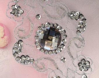 "JB35 Emma Silver Bridal Beaded Sequin Rhinestone Applique 5.75""    JB35-sl"