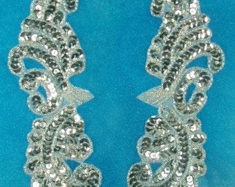 0422  Silver Mirror Pair Beaded Sequin Appliques Motif Patch  0422-sl
