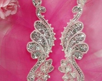 """0016   Silver Mirror Pair  Sequin Beaded Appliques 8""""  Sewing Crafts Motif Patch (0016X-slp)"""