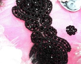 JB67 Black Beaded Applique Craft Sewing Motif :)  Hot Fix Iron On (JB67-bk)