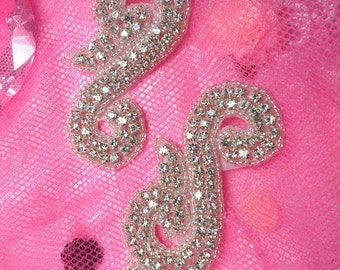 ACT/XR130/A Mirror Pair Silver Beaded Crystal Rhinestone Appliques (ACT/XR130/A-slcr)