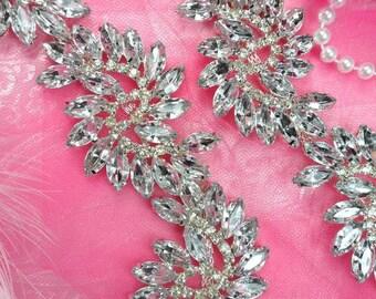 """XR120 Pre-Cut By the Yard Marquise Swirl Crystal Rhinestone Trim Embellishment 1.75"""" (XR120-slcr)"""