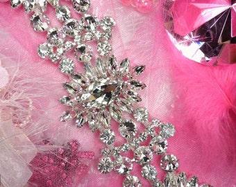 """TS114 Silver Crystal Rhinestone Applique Embellishment  8.5""""  (TS114-slcr)"""