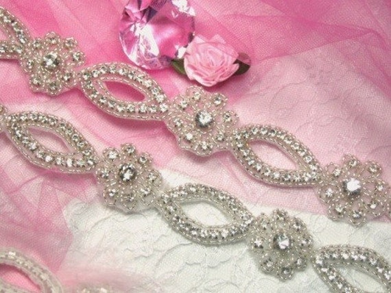 Glass Crystal Rhinestone Silver Beaded Floral Sewing Trim (0429) -slcr
