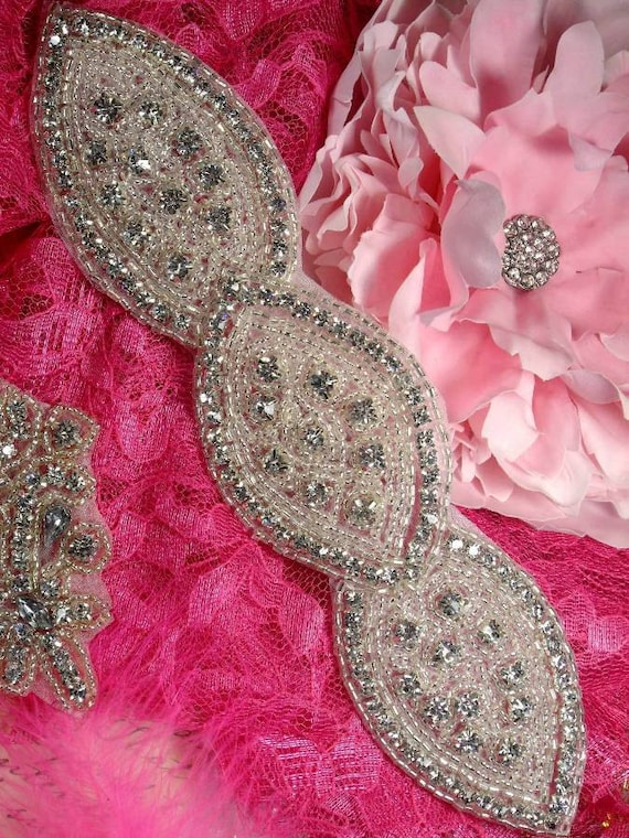"""JB28 Triple Eye Silver Beaded Crystal Rhinestone Applique 8.5"""" Great for Bridal Sashes and Accessories jb28-SLCR"""