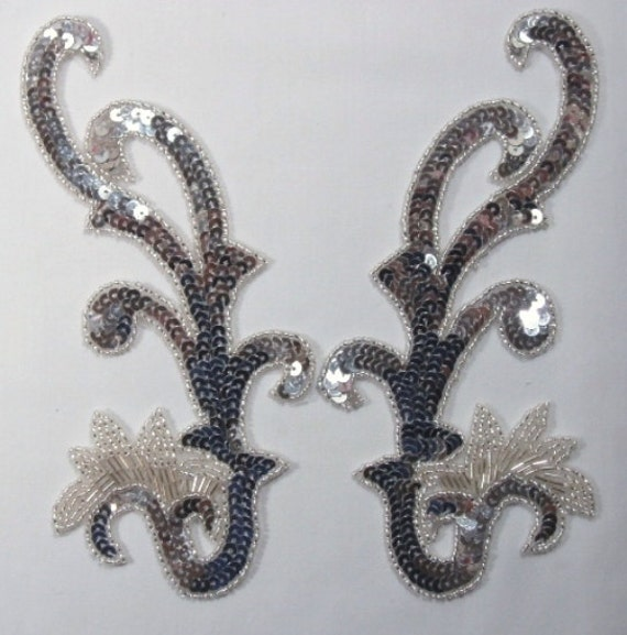 0020 silver mirror pair sequin beaded appliques 8