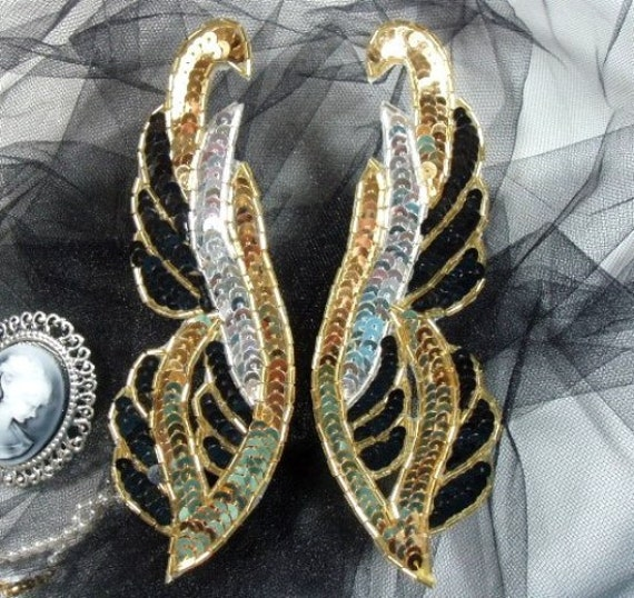 """0033 Black Gold Silver Sequin Gold Beads Mirror Pair Beaded Sequin Appliques 6.25""""  0033-bkglsl"""