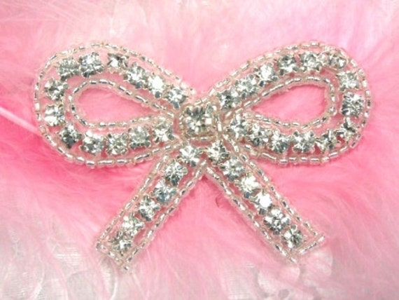 "A0461 Crystal Clear Silver Beaded Bow Rhinestone Applique 2.5""  Bridal Accessories Crafts or Sewing  A0461-slcr"