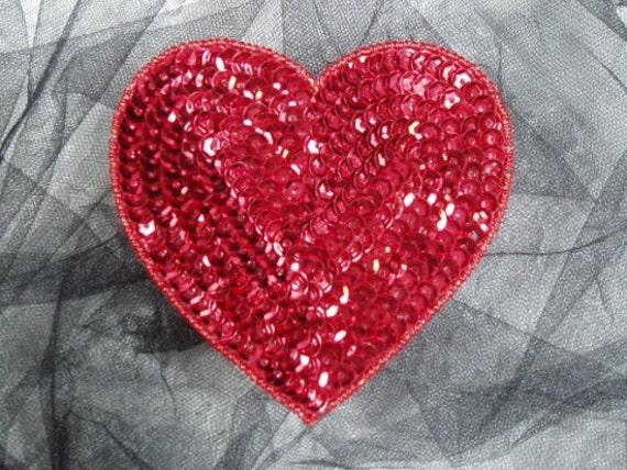 "0337 Red Valentine Heart Sequin Beaded Applique 4""  Sewing Craft Motif  0337-rd"