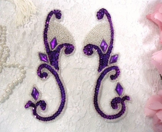 "0034 Purple Sequin Silver Beaded Jeweled Mirror Pair Sequin Beaded Appliques 6""  0034X-pursl"