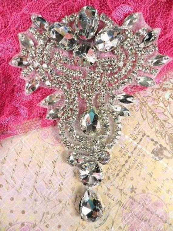 "TS55 Crystal Clear Silver Rhinestone Applique 4.75"" Bridal Sash and Accessories"