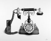 Still Life Telephone Pencil Drawing  Fine Art  Print Signed by Artist