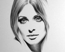 Sharon Tate Minimalism Pencil Drawing Fine Art PRINT HAND SIGNED