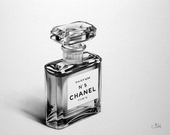 Still Life Chanel No 5 Fine Art Pencil Drawing Signed Print