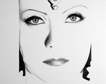 Greta Garbo Portrait Pencil Drawing Fine Art Print Hand Signed by Artist