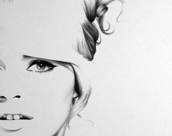 Brigitte Bardot  Pencil Drawing Fine Art PortraitPrint Hand Signed by Artist