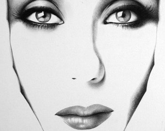 Cher Pencil Drawing Fine Art Portrait Signed Print