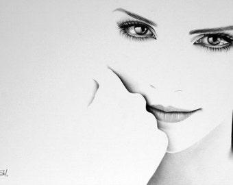 Emma Watson Minimalism Pencil Drawing Fine Art Portrait Print Hand Signed
