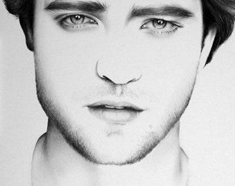 Robert Pattinson Minimalism Pencil Drawing Fine Art Portrait Print Hand Signed