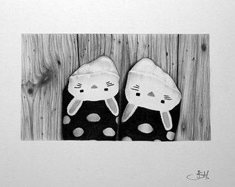 Pencil Drawing Fine Art Self Portrait Bunny Socks Feet Print Hand Signed by Artist