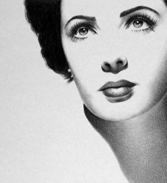 Elizabeth Taylor Original Pencil Drawing Portrait Vintage Glamour Classic Hollywood