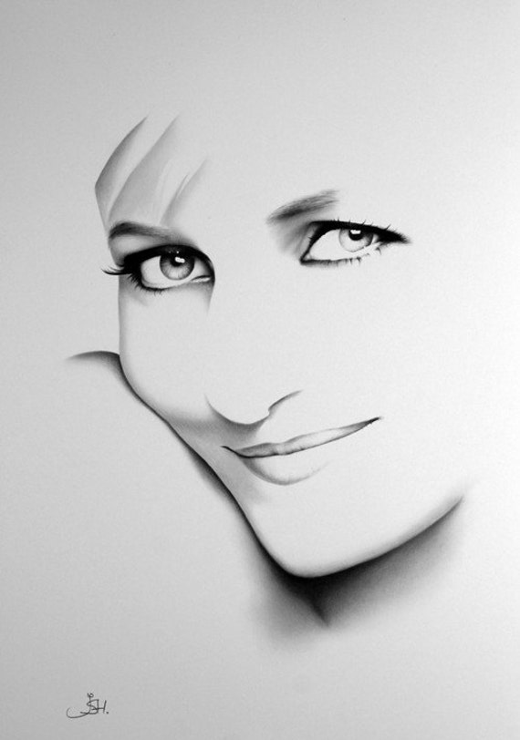 Princess Diana Pencil Drawing Fine Art Print Signed by Artist