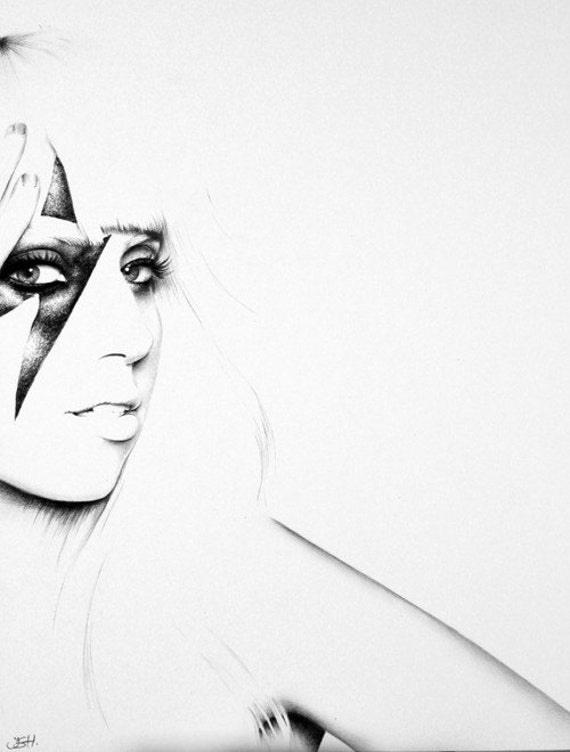 Lady Gaga Pencil Drawing Fine Art Portrait Print Hand Signed