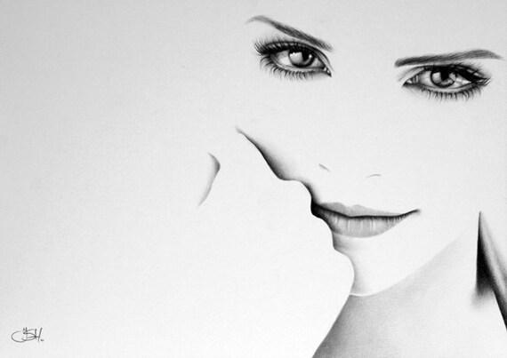 Emma watson minimalism pencil drawing fine art portrait print for Minimal art face