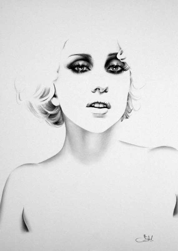 Lady Gaga Minimalism Pencil Drawing Fine Art Portrait Print Hand Signed