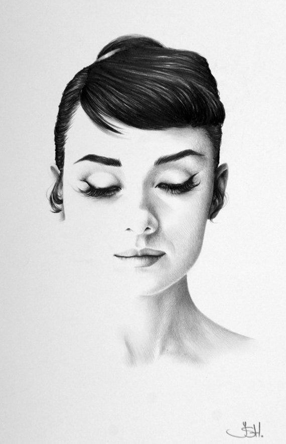 Audrey Hepburn Original Pencil Drawing Minimalism By Ileanahunter