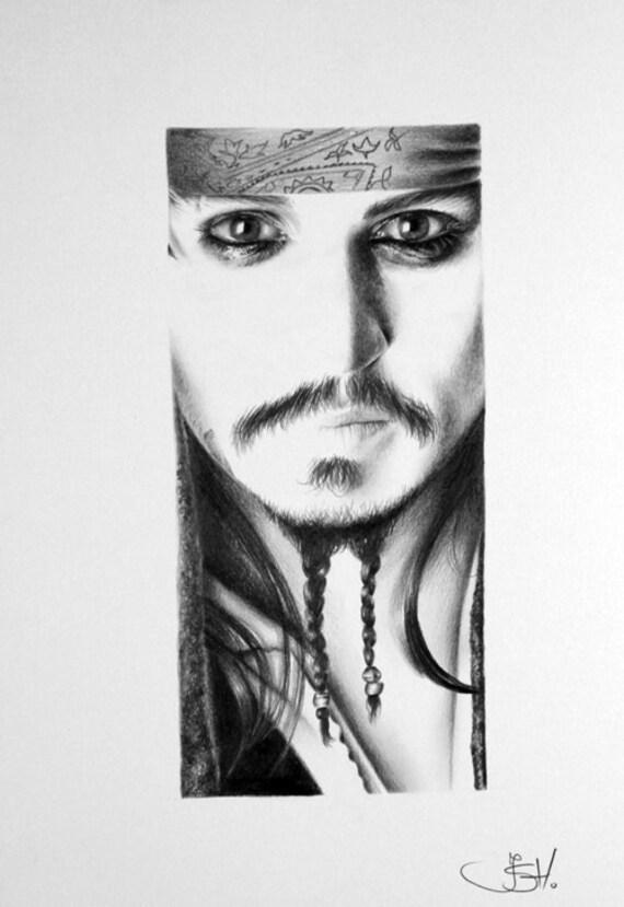 Johnny Depp Jack Sparrow Original Pencil Drawing Minimalism Fine Art Portrait SALE