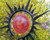Red, hand blown glass, Sun Stake, summer sculpture, American Made