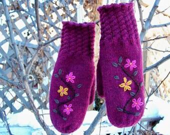 Wool Mittens Hand Knit Hand Embroidered Wool Mittens - Wildflower