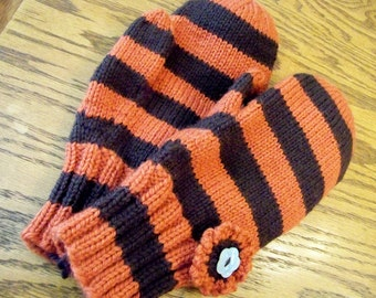 Wool Mittens Stripe - Hand Knit Brown and Russet Stripe