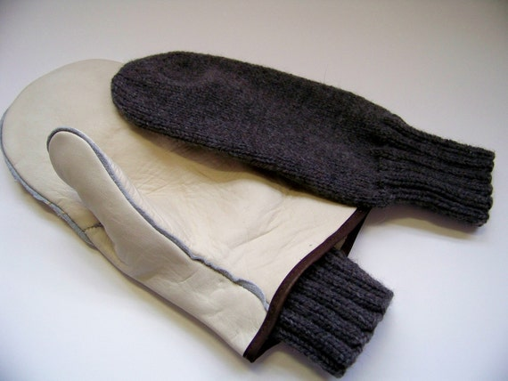 Mens Hand Knit Wool Mitten Liners for Leather Choppers - Mens Gray