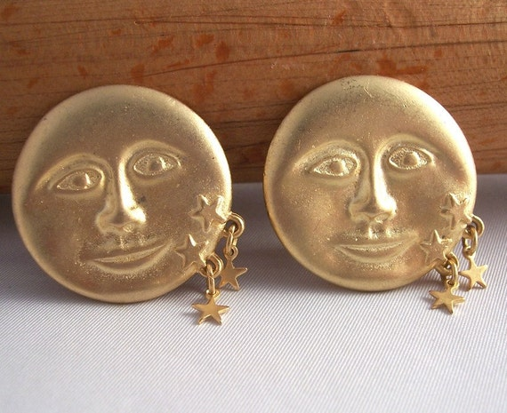 Vintage Full Moon and Stars Clip Back Earrings