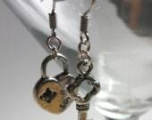 Key To My Heart  Earrings - Silver Key and Lock Heart Dangle Earrings