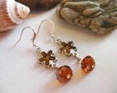Golden Brown Flower  Earrings - Amber Flora Dangle Earrings