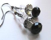 Black Grey and Clear Crystal Dangle Earrings - Simply must have, Black Crystal Earrings, Black Crystal Dangle Earrings, Black Earrings