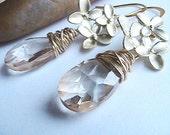 Golden Drop Flower Earrings, Gold Flower Earrings, Gold Dangle Earrings, Wire Wrapped, Bridal Jewelery, Bridesmaids, Wedding, Formal, Bridal
