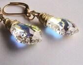Wire Wrapped AB Clear Swarovski Crystal Earrings -  Aurora Borealis Crystal Earrings, Wedding, Bridal, Bridesmaids