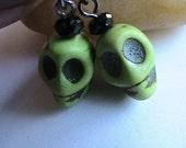 Cool Green Skull Earrings, Green Earrings, Skeleton Earrings, Skull, Bone, Skeleton, Fun, Geekery, Cool Earrings, Eccentric Earrings