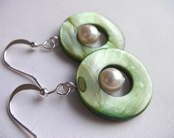 Round Sea Shell Earrings - Green, Ivory and Brown Dangle Pearl Seashell Earrings