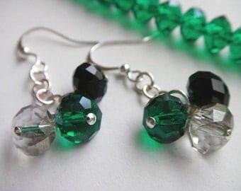 Emerald Green Earrings, Green Crystal Earrings, Green and Black Earrings, Emerald Green Crystal Earrings, Green Dangle Earrings