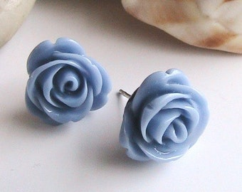 Lavender Rose Earrings, Purple Rose Earrings, Mauve Rose Earrings, Rose Cabochons, Rose Lavender Earrings, Wedding, Bridal Jewelry, Set