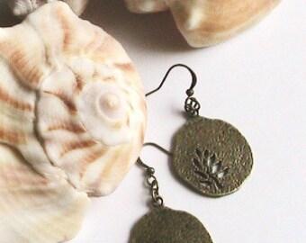 Tree of Life Earrings, Tree Earrings, Leave Earrings, Antique Brass Tree Charm, Dangle Earrings
